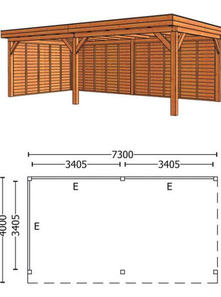 Trendhout | Buitenverblijf Refter XL 7300 mm | Combinatie 2