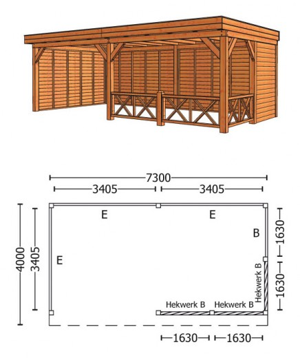 Trendhout | Buitenverblijf Refter XL 7300 mm | Combinatie 3