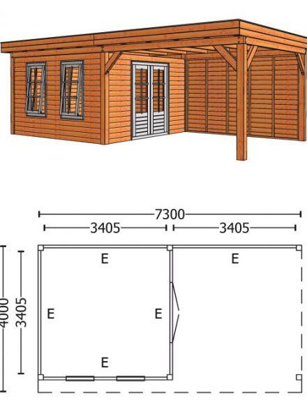 Trendhout | Buitenverblijf Refter XL 7300 mm | Combinatie 4
