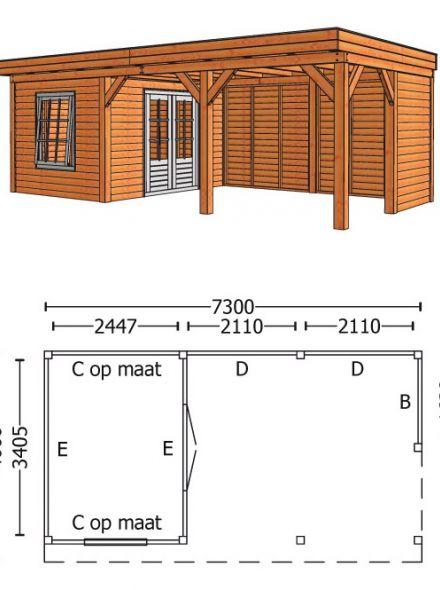 Trendhout | Buitenverblijf Refter XL 7300 mm | Combinatie 5