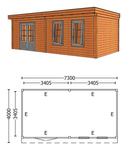 Trendhout | Buitenverblijf Refter XL 7300 mm | Combinatie 6