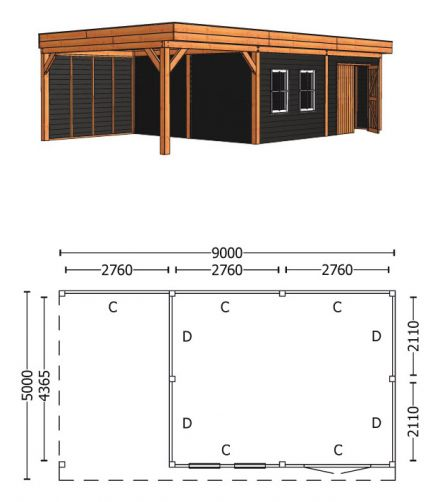 Trendhout | Buitenverblijf Regina XL 9000 mm | Combinatie 6