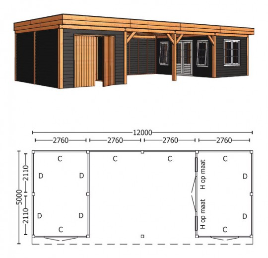 Trendhout | Buitenverblijf Regina XL 12000 mm | Combinatie 6