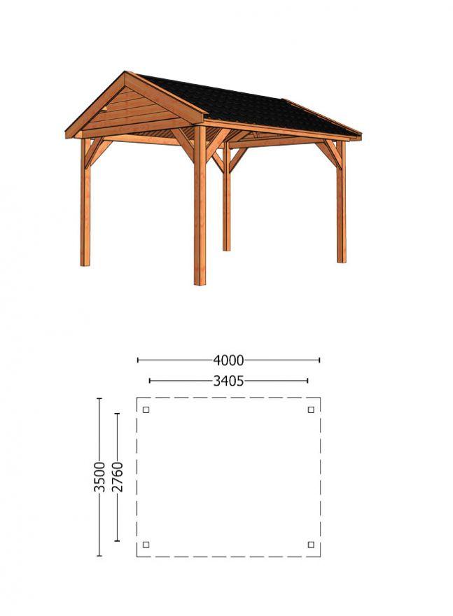 Trendhout   Buitenverblijf Zadeldak Betula 4000 mm   Combinatie 1