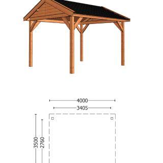 Trendhout | Buitenverblijf Zadeldak Betula 4000 mm | Combinatie 1