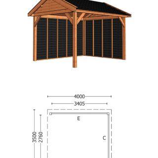 Trendhout | Buitenverblijf Zadeldak Betula 4000 mm | Combinatie 2