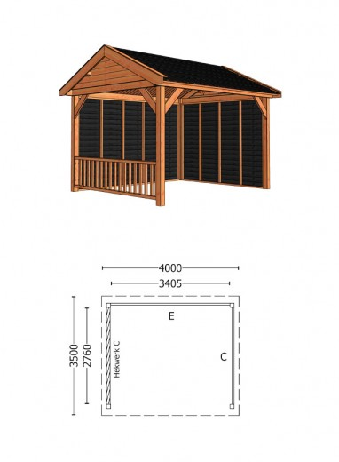 Trendhout | Buitenverblijf Zadeldak Betula 4000 mm | Combinatie 3