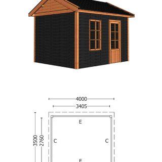 Trendhout | Buitenverblijf Zadeldak Betula 4000 mm | Combinatie 4