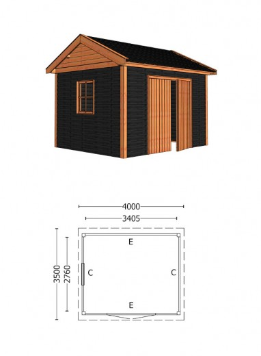 Trendhout | Buitenverblijf Zadeldak Betula 4000 mm | Combinatie 5
