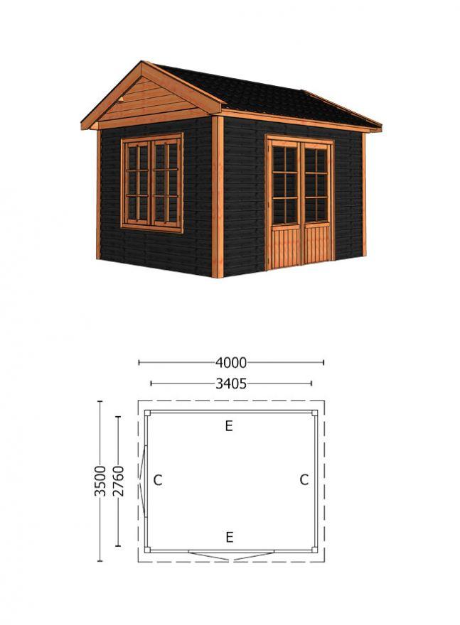 Trendhout   Buitenverblijf Zadeldak Betula 4000 mm   Combinatie 6