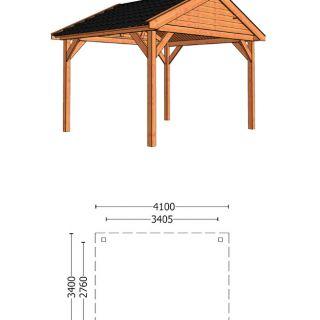 Trendhout | Buitenverblijf Zadeldak Olea 4100 mm | Combinatie 1
