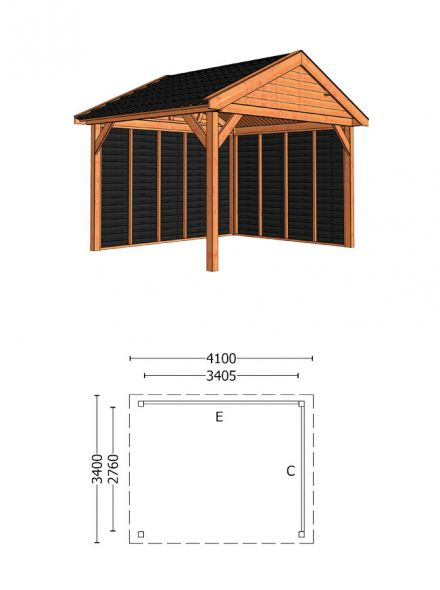 Trendhout | Buitenverblijf Zadeldak Olea 4100 mm | Combinatie 2