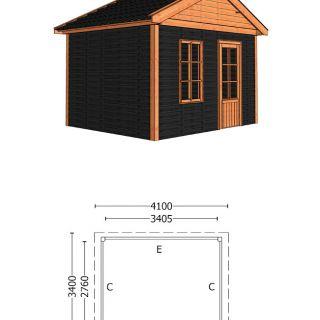 Trendhout | Buitenverblijf Zadeldak Olea 4100 mm | Combinatie 4