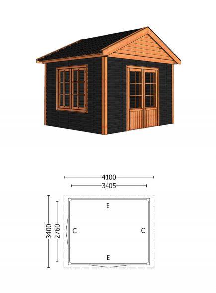 Trendhout | Buitenverblijf Zadeldak Olea 4100 mm | Combinatie 6