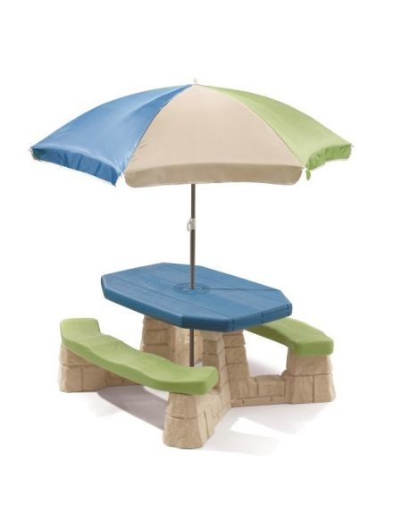 Picknicktafel met parasol (aqua)