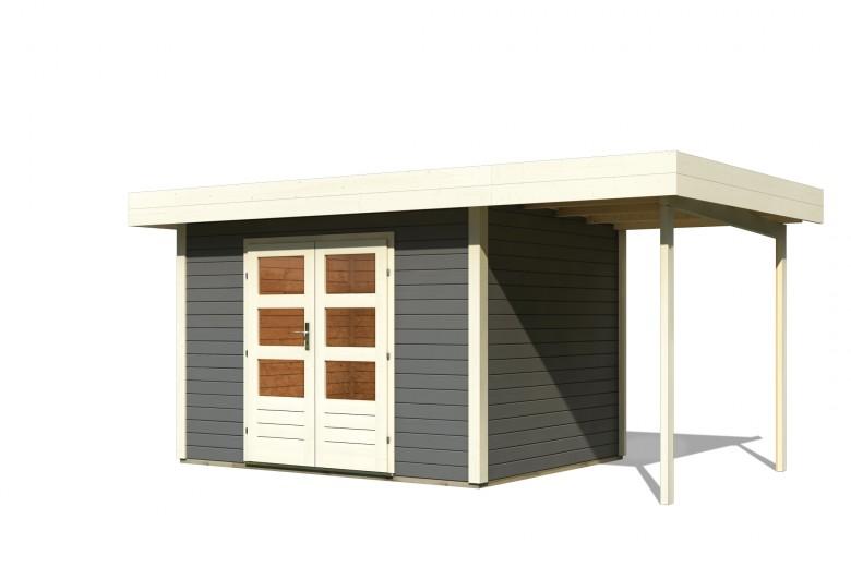 Karibu | Blokhut Multi Cube 3 304 x 244 | Luifel 300 cm