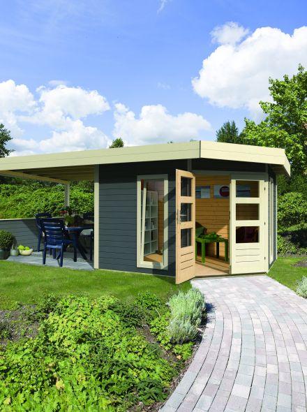 Karibu | Blokhut Corner Cube 304 x 304 | Luifel 150 cm