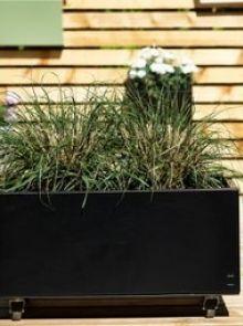 Plantenbak  ZWART aluminium 40 x   40 x  80  (hgtxbxl) met bodem + wielen