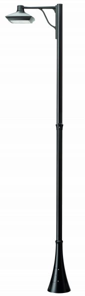 buitenverlichting armatuur City highlight Mast 300cm. 1xkap24W led.3000K Grafiet (10-20291)