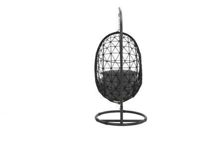 Panama swing chair egg (rope zwart Ø8mm/ reflex grey)
