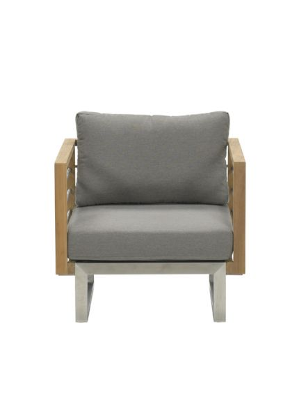 Belerive lounge fauteuil (RVS/teak/warm grey)