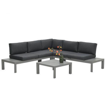 Adelaide loungeset 4-delig (arctic grey/ reflex black)