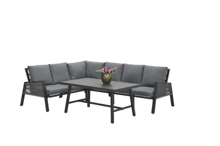 Andrea lounge dining set 4-dlg (c.bl./rope silv gr Ø8mm/l.grey)