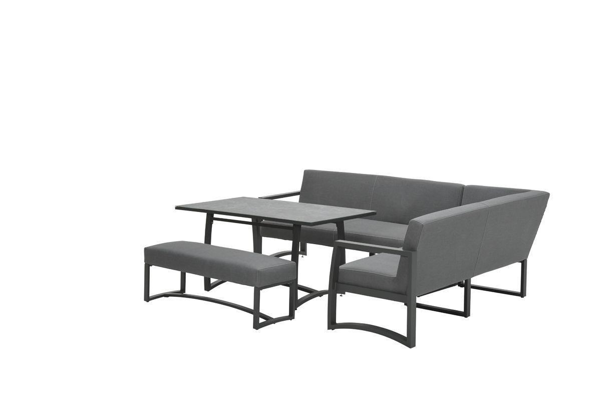 Aureum lounge dining set 4-dlg (carbon black/ licht grijs)