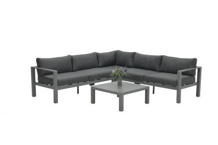 Bianca loungeset 4-delig (arctic grey/ reflex black)