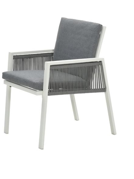 Andrea dining fauteuil (m.wit/rope silv gr Ø8mm/l.grey)
