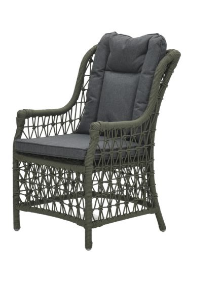 Excellence dining fauteuil (rope moss green Ø8mm/ r. black)