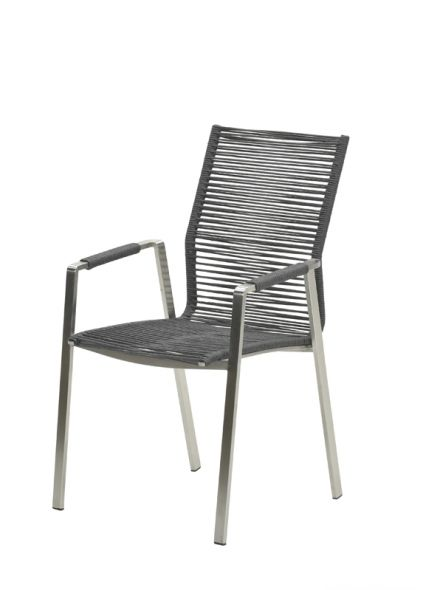 Geneve dining fauteuil (RVS/ rope dark grey Ø5mm)