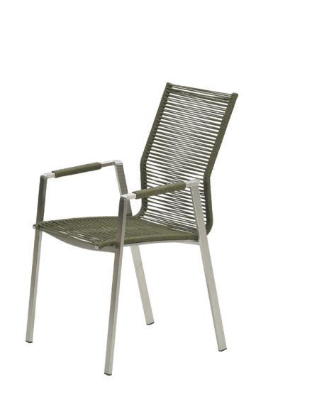 Geneve dining fauteuil (RVS/rope moss green Ø5mm)