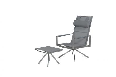 Zermatt stoel met voetenbank (RVS/grey textilene)