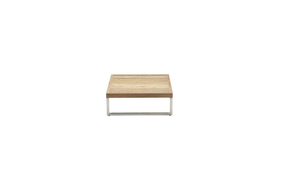 Belerive tafel 70x90xH25 (RVS/ teak top)