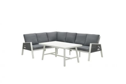 Andrea lounge dining set 4-dlg (m.wit/rope silv gr Ø8mm/l.grey)
