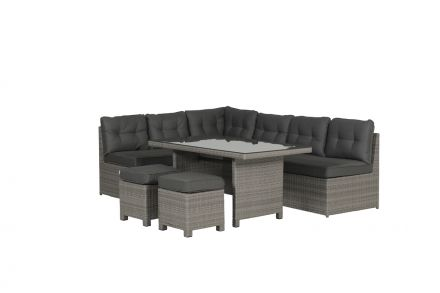 Coral lounge/dining set 5-delig (organic grey 8,4mm/d.antraciet)