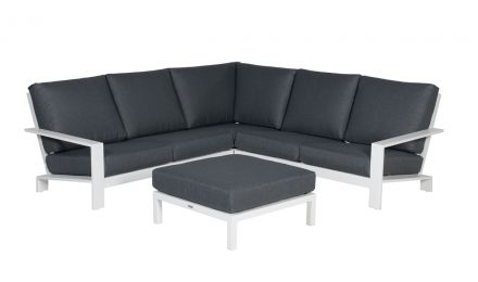 Lincoln loungeset 4-delig (mat wit/reflex black)