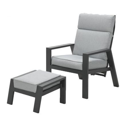 Max verst. stoel + voetenbank (carbon black/licht grijs)