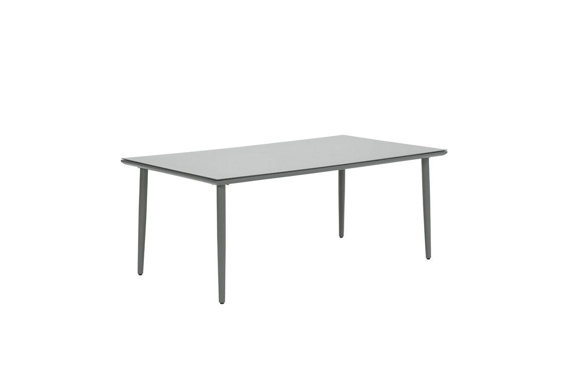 Perth dining tafel 180x100 cm (arctic grey/dark grey pr. glass 5mm)