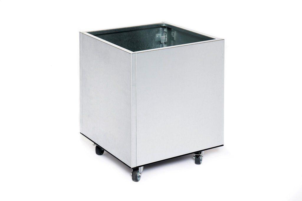 Aluminium Plantenbak 40x40x40  (Incl. bodem & wielen)