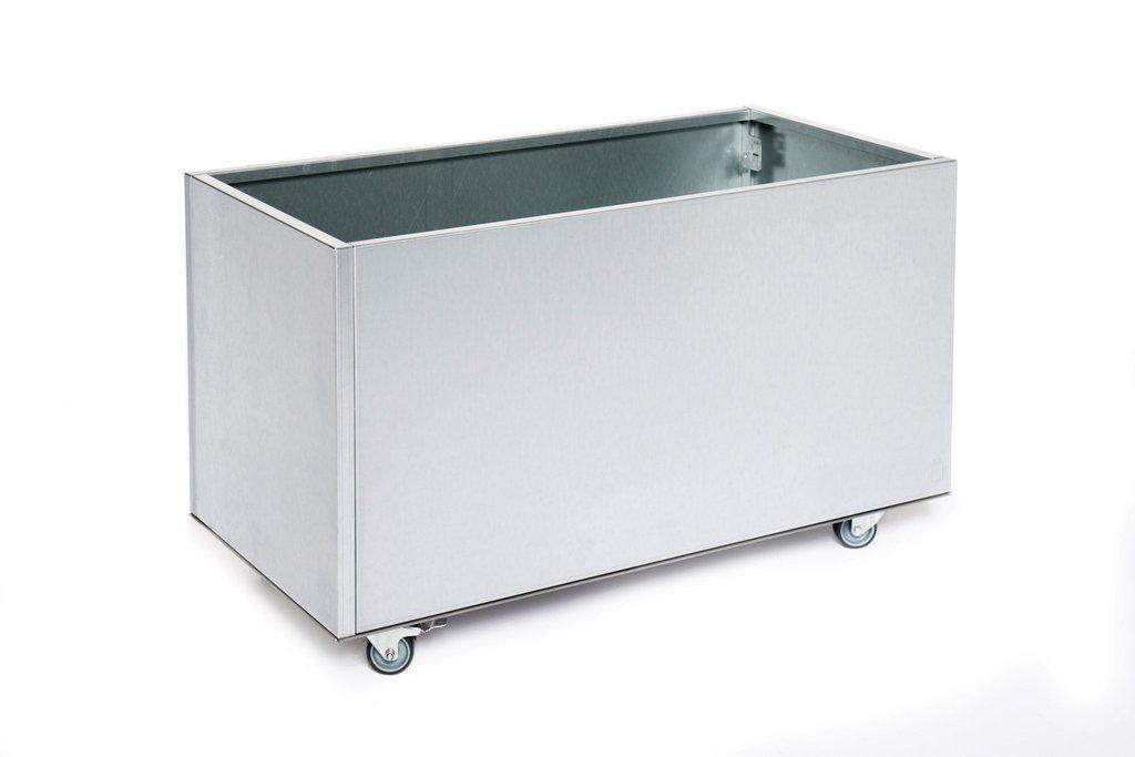 Aluminium Plantenbak 40x40x80 (Incl. bodem & wielen)