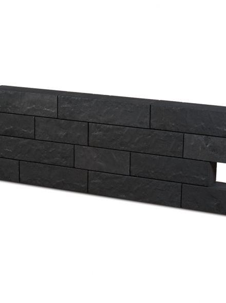 Rock Walling geborsteld zwart Hoog 13cm, diep 12 cm, lang 31,5cm, 41,5 cm en 51,5 cm - 9,1 m2
