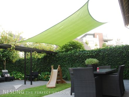 Schaduwdoek Nesling Coolfit Vierkant 5,0 x 5,0 x 5,0 x 5,0m, Lime groen