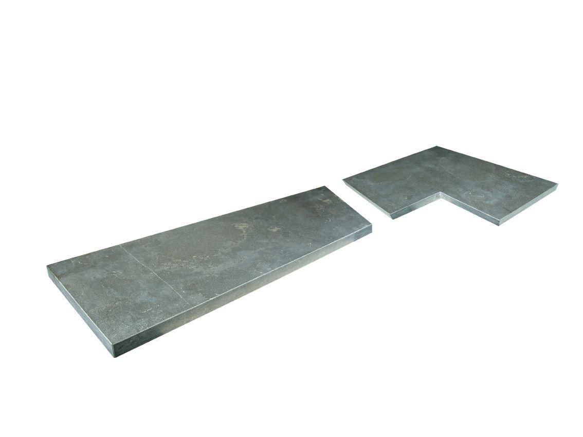 Hardstenen vijverrand hoekstuk 50/50 x 35 cm verzoet, per stuk (Chinees hardsteen, Spotted Bluestone, Siam Bluestone)