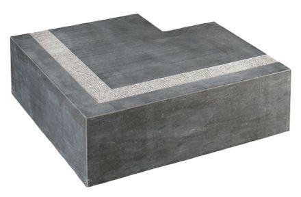 Traptrede hoekstuk Bluestone gezoet 50/35 x 50/35 x 15 cm, gezoet met anti-slip rand in/uitwendig