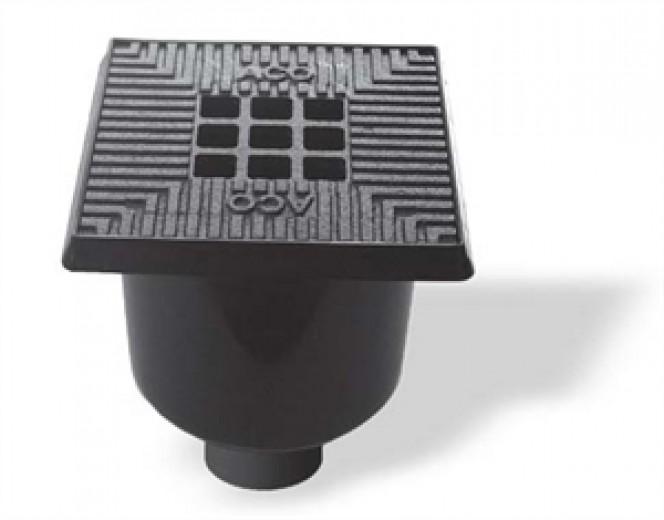 Vloerput / schrobput 20 x 20 cm kunststof rand + gietijzeren rooster (Easygarden, ACO artikel 03532)