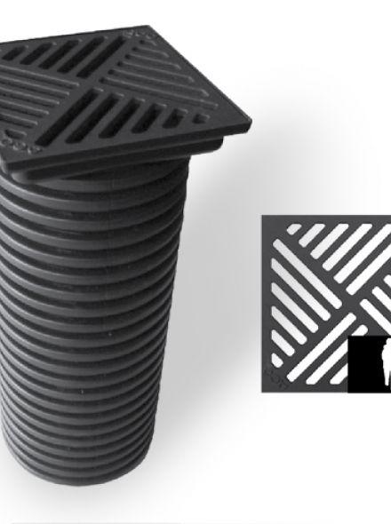 Infiltratieput met gietijzeren rooster 25 x 25 cm (ACO Easygarden artikelnummer 406481)