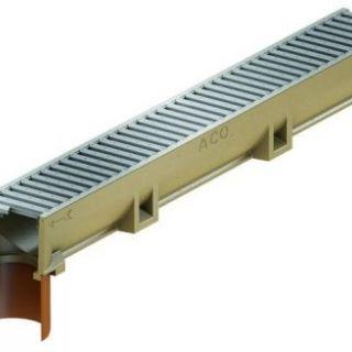 Euroline element 1 meter onderuitloop + verzinkt rooster, berijdbaar door personenauto's (ACO Easygarden artikelnummer 38701)