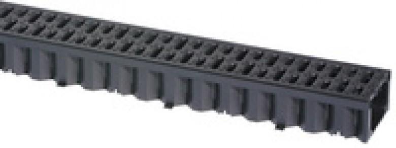 Hexaline 2.0 goot zwart, L=1000mm + zwart kunstof rooster (ACO Easygarden roostergoot artikelnummer 319210)